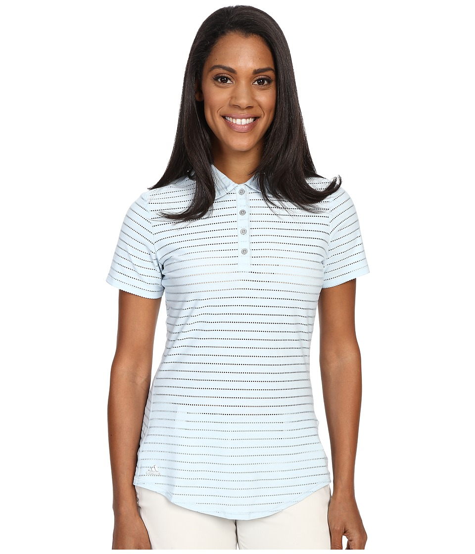 adidas Golf Cottonhand Stripe Polo Soft Blue/Soft Blue Heather Womens Short Sleeve Button Up