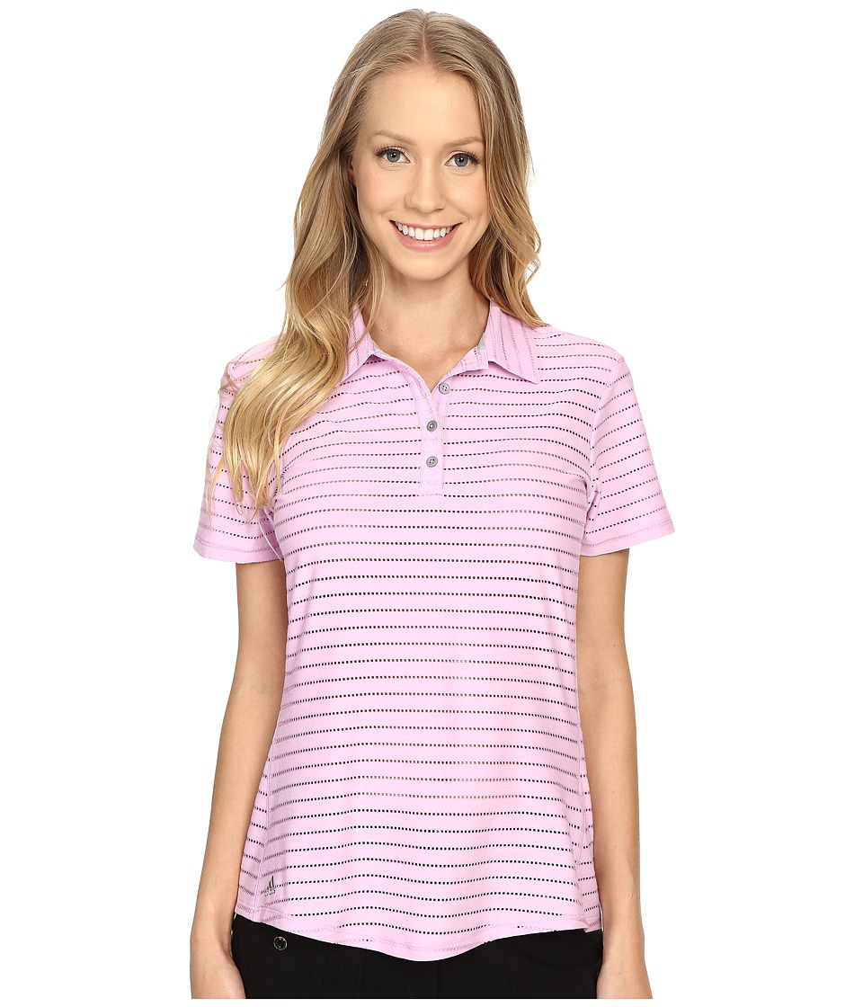 adidas Golf Cottonhand Stripe Polo Wild Orchid/Wild Orchid Heather Womens Short Sleeve Button Up