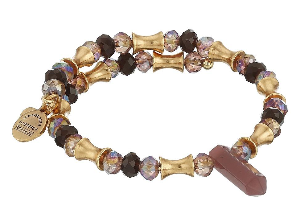 Alex and Ani Retro Glam Wrap Bracelet Garnet/Gold Bracelet