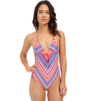 Shoshanna - Chevron Tapestry Grommet Tie Front Maillot One-Piece