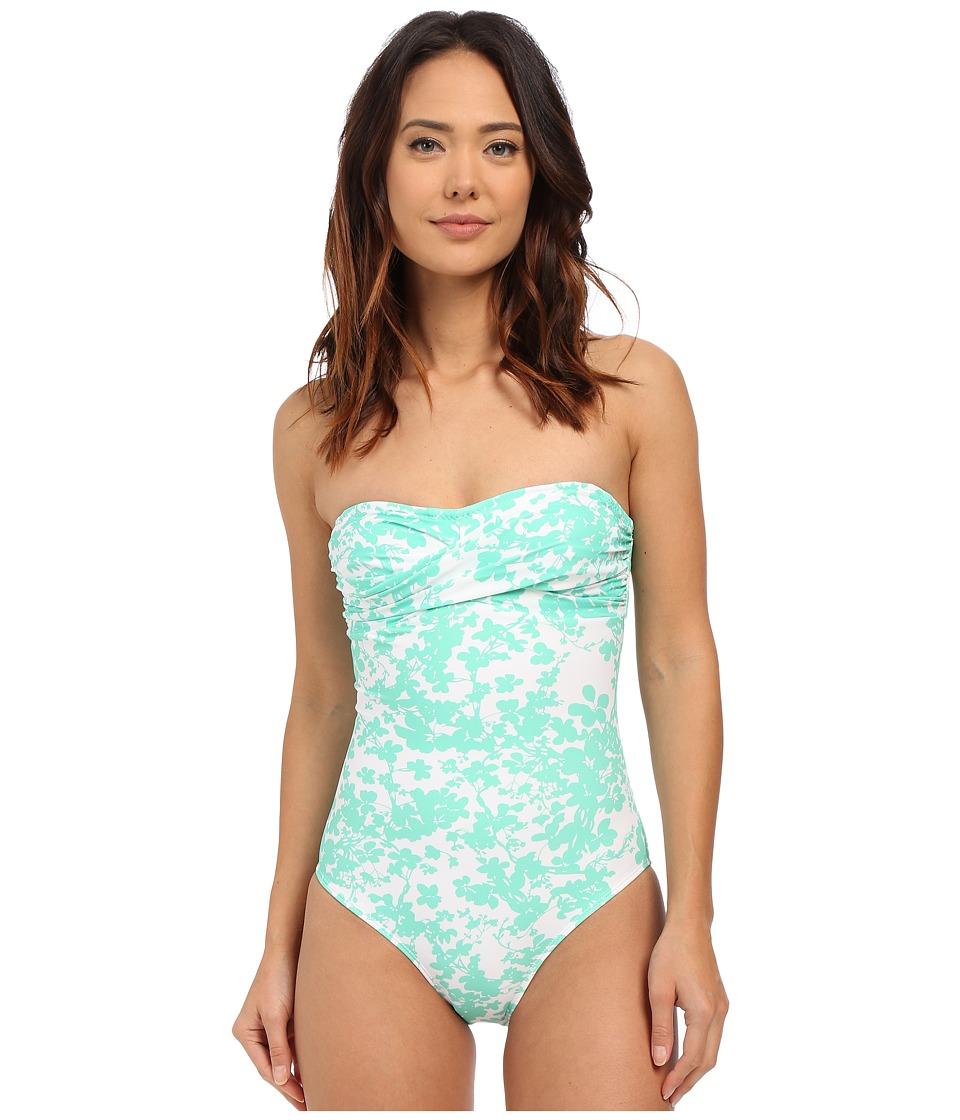 Shoshanna Beach Vine Twist One Piece Mint/White Womens Swimsuits One Piece