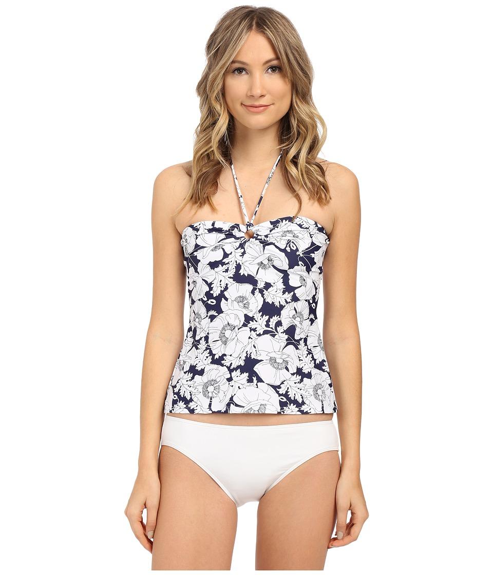 Shoshanna Hand Drawn Poppies Ring Tankini Top Navy/White Womens Swimwear