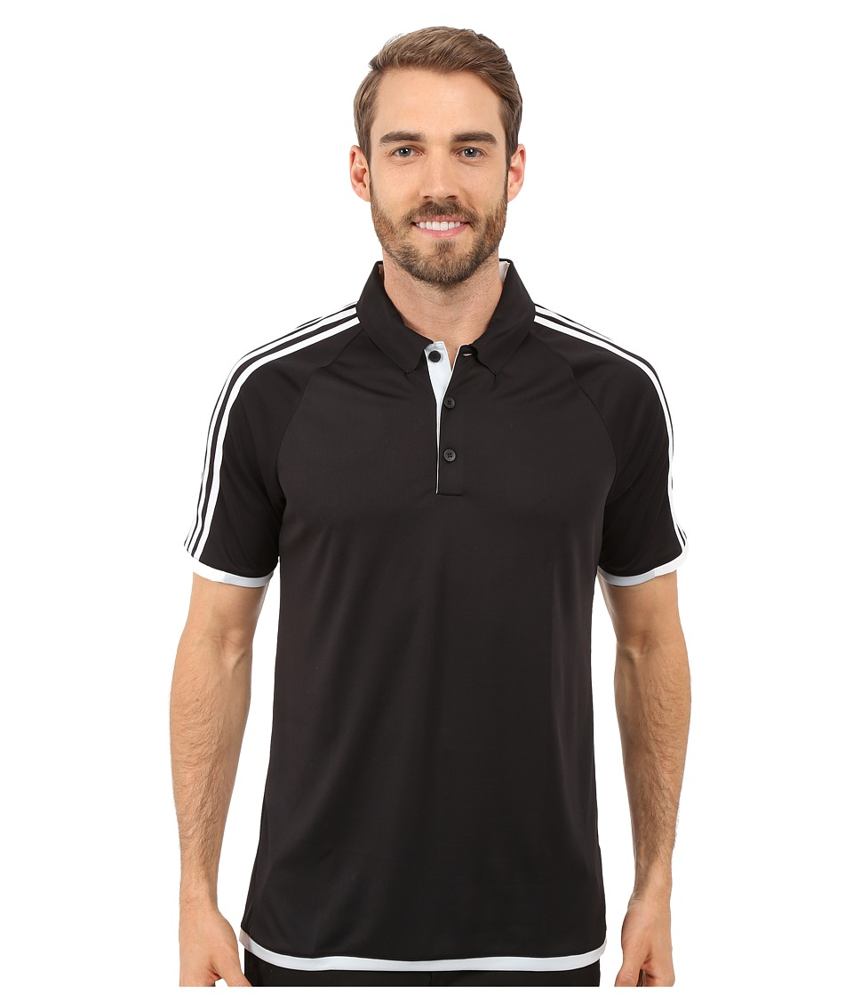 adidas Golf CLIMACHILL 3 Stripes Competition Polo Black/White Mens Clothing