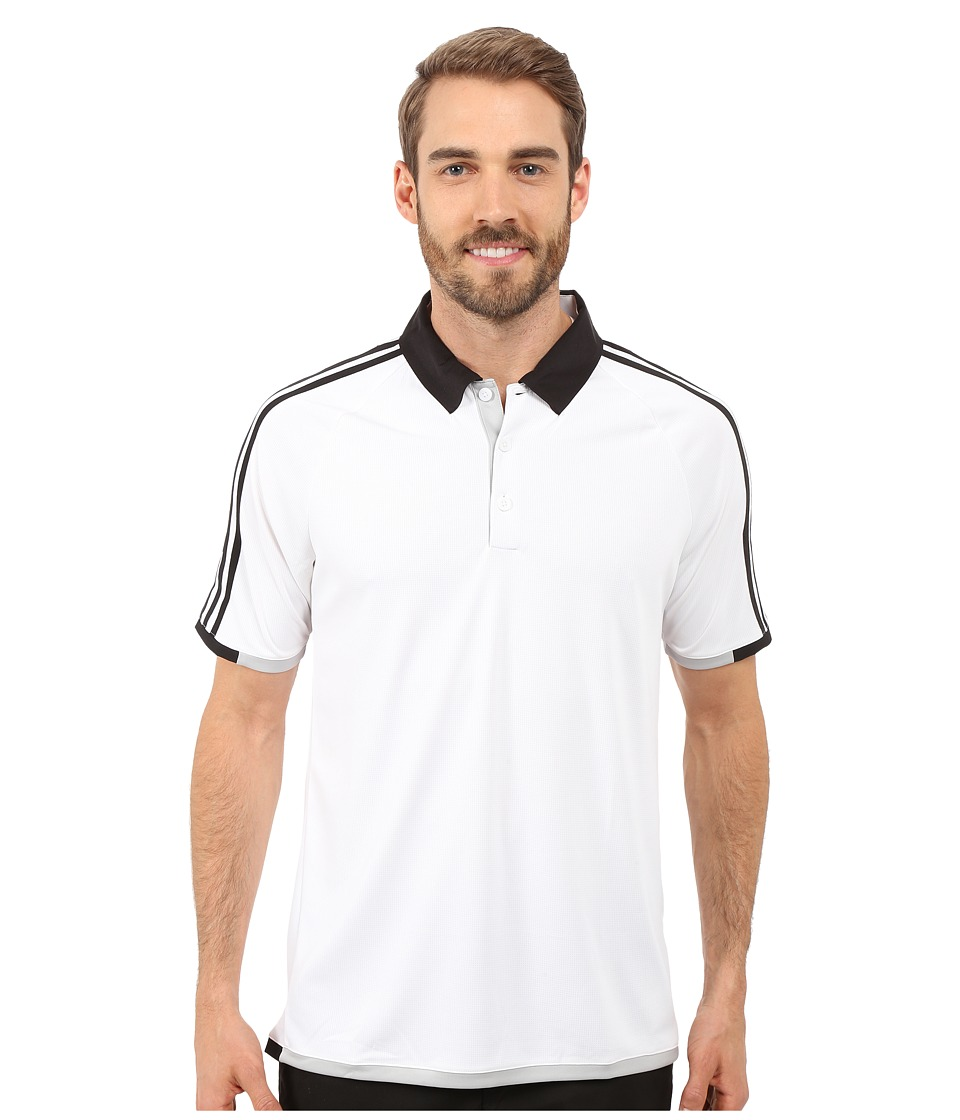 adidas Golf CLIMACHILL 3 Stripes Competition Polo White/Black Mens Clothing