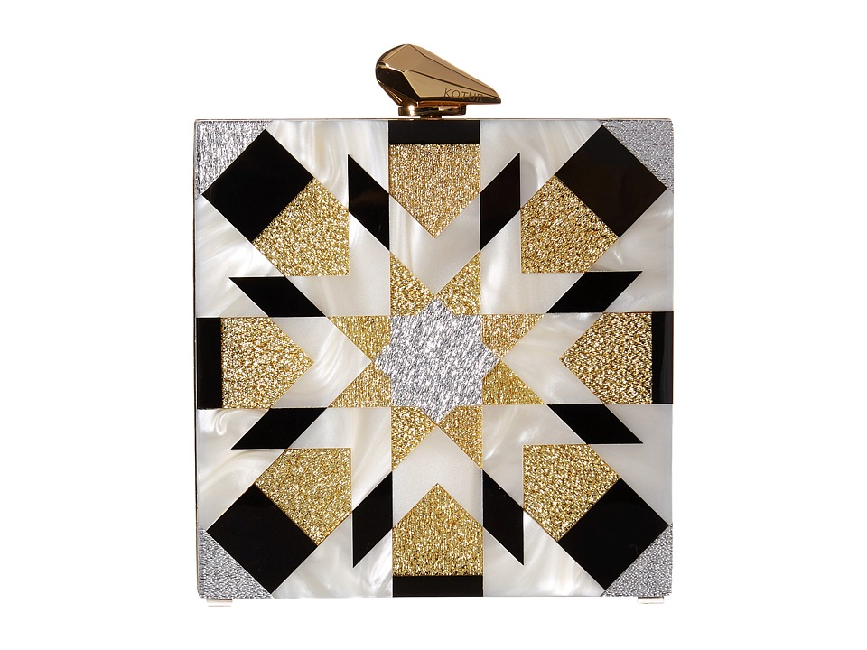 KOTUR Fitzgerald Geometric Black/Gold Clutch Handbags