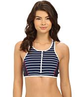 Nautica - Classic Stripe Soft Cup Zip Front Sports Bra NA30166