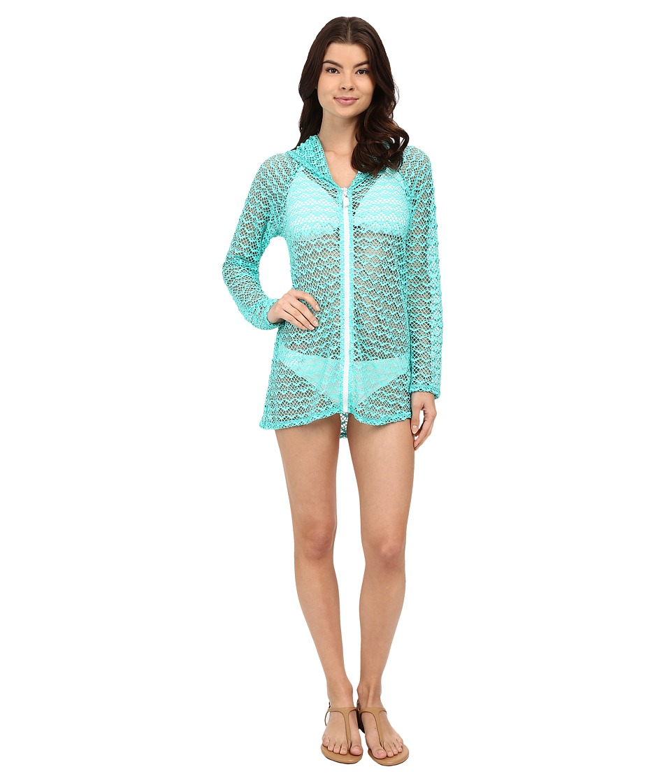 Nautica Absolutely Shore Hooded Long Sleeve Tunic NA24706 Aqua Womens Swimwear