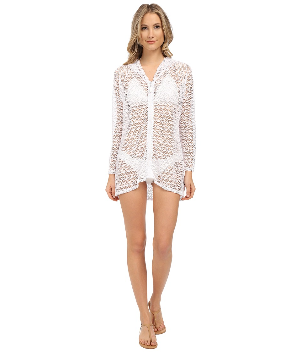 Nautica Absolutely Shore Hooded Long Sleeve Tunic NA24706 White Womens Swimwear