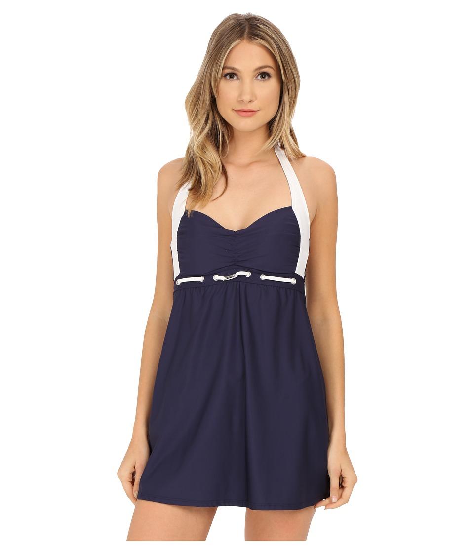 Nautica Signature Molded Cup Swim Dress NA27546 Navy Womens Swimwear