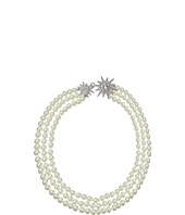 Kenneth Jay Lane - 3 Row Cultura Pearl with Rhodium and Rhinestone Starburst Clasp Necklace