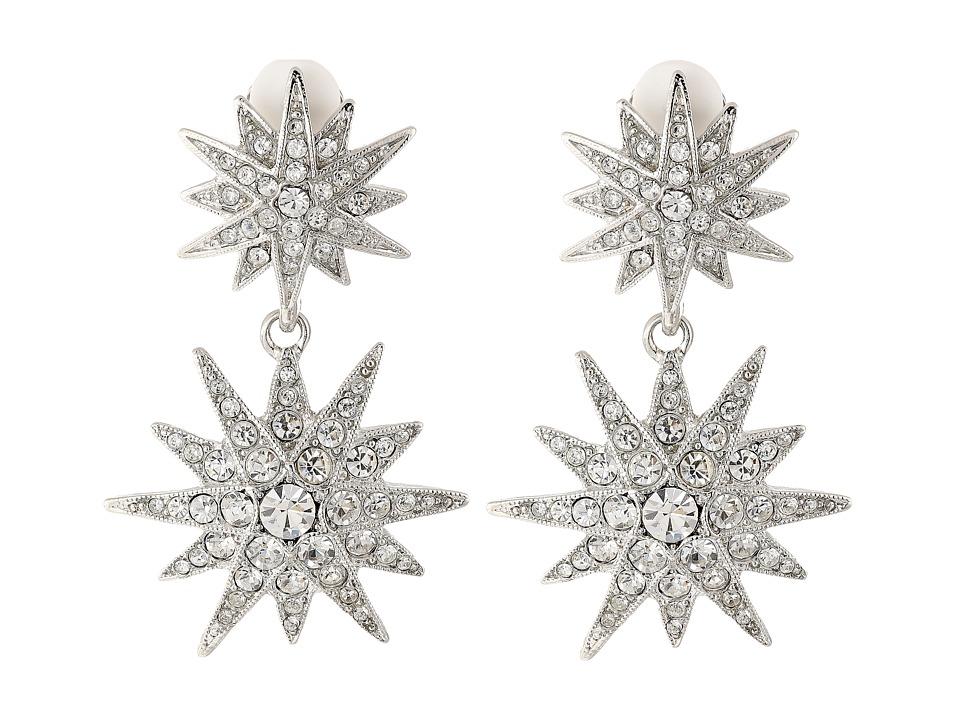Kenneth Jay Lane - Rhodium and Rhinestone Starburst Drop Clip Earrings (Siver/Crystal) Earring