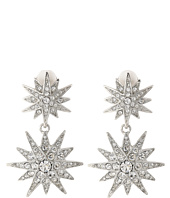Kenneth Jay Lane - Rhodium and Rhinestone Starburst Drop Clip Earrings