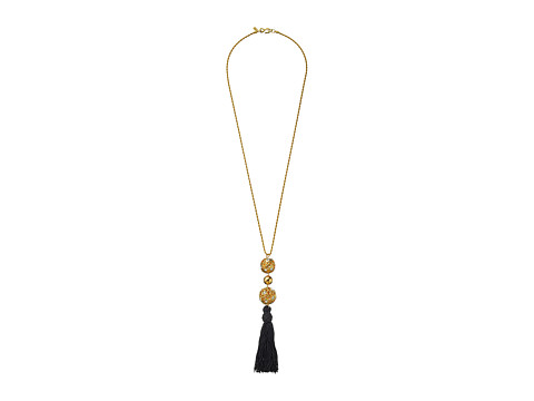 Kenneth Jay Lane Gold Chain with Gold and Crystal Ball and Black Tassel Necklace - Gold/Black