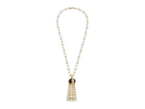 Kenneth Jay Lane White Pearl with Black and Rhinestone Cap and Pearl Tassel Necklace