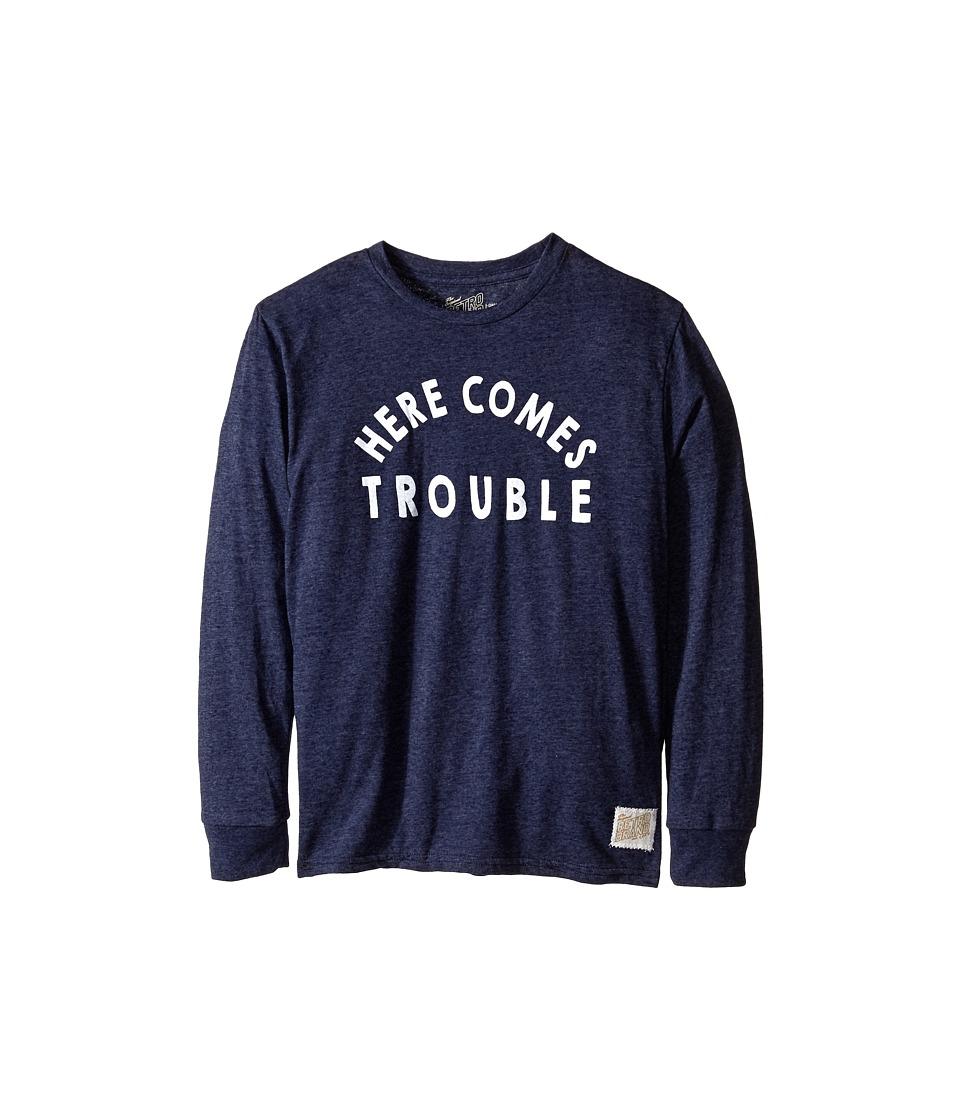 The Original Retro Brand Kids Here Comes Trouble Long Sleeve Tee Big Kids Streaky Navy Boys T Shirt