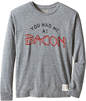 The Original Retro Brand Kids - You Had Me At Bacon Long Sleeve Tee (Big Kids)