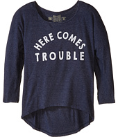 The Original Retro Brand Kids - Here Comes Trouble 3/4 High-Low Dolman (Little Kids/Big Kids)