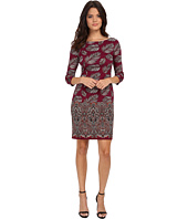 Maggy London - Feather Leaf Paisley Printed Ponte Sheath with Elbow Sleeve