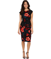Maggy London - Printed Crepe Evening Rose Sheath with Lace Panels