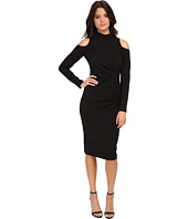 Maggy London - Crepe Scuba Sheath with Cold Shoulder and Funnel Neck