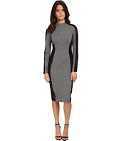 Maggy London - Knit Long Sleeve Sheath with Black Contour Detail