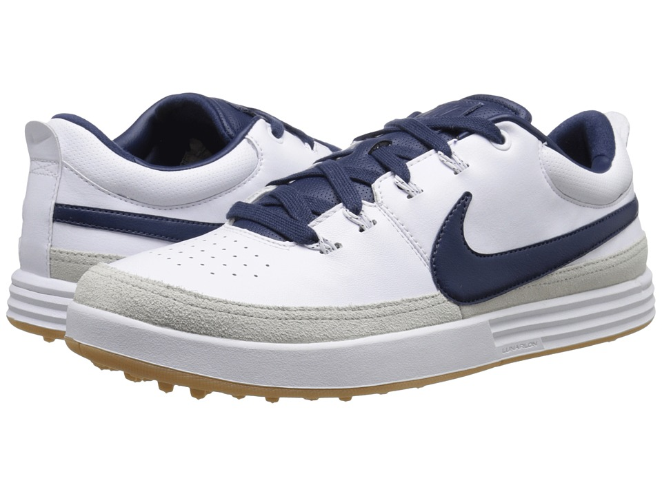 Nike Golf - Nike Lunarwaverly (White/Midnight Navy/Gum Yellow) Men