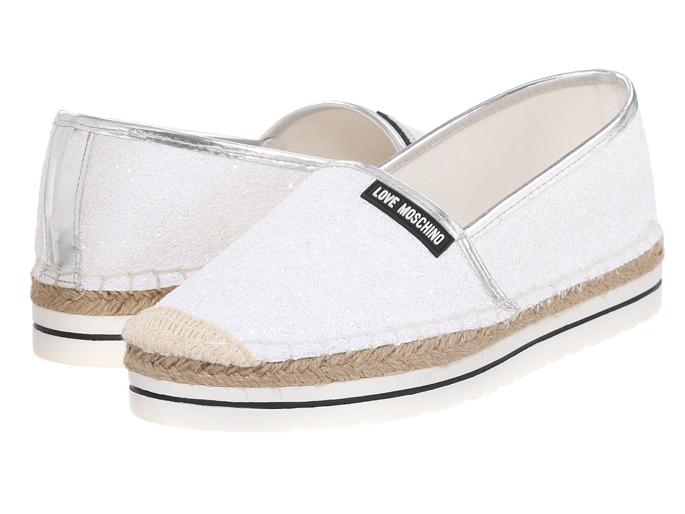 LOVE Moschino - Sparkle Slip-On (White) Women