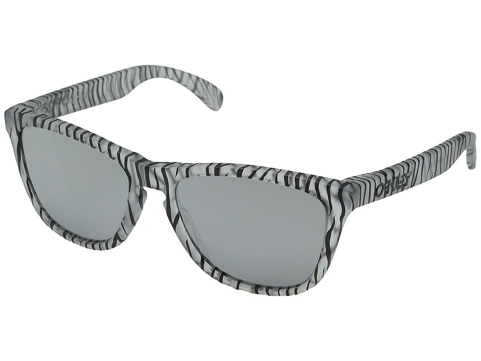Oakley Frogskins Matte Clear/Chrome Iridium Sport Sunglasses