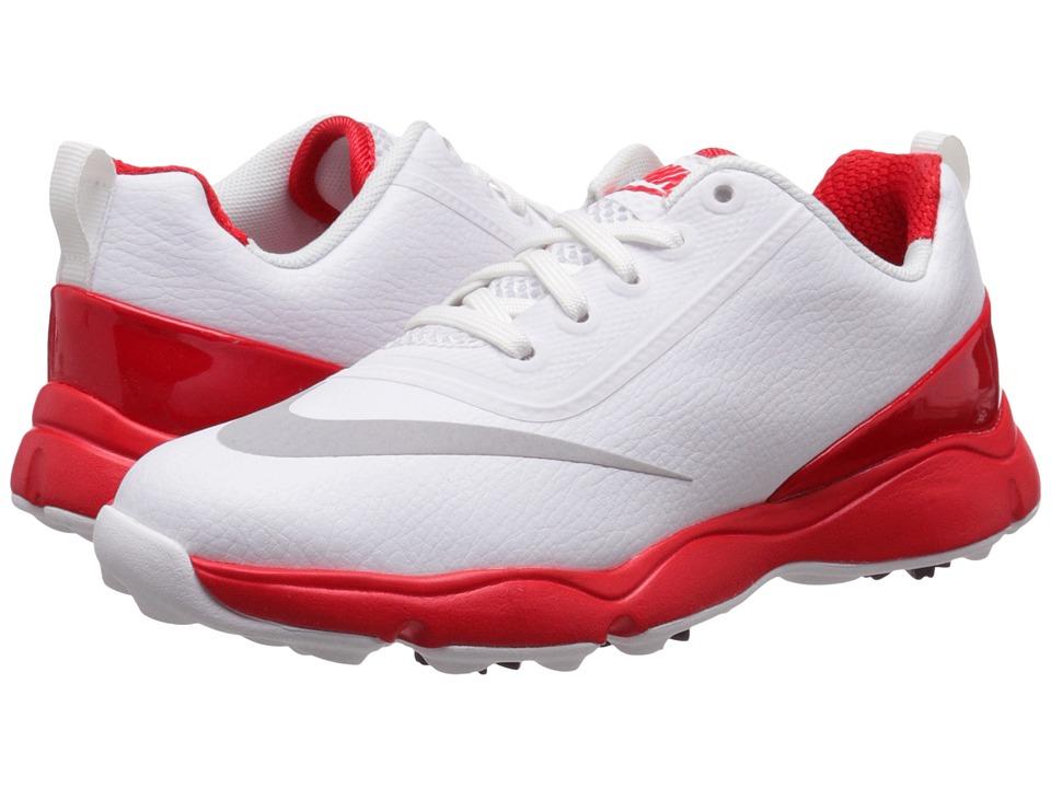 Nike Golf Control Jr. (Little Kid/Big Kid) (White/Metallic Silver/Bright Crimson) Men