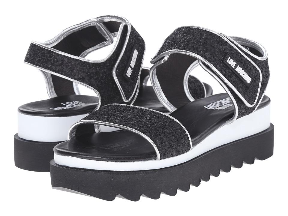 LOVE Moschino - Shiny Open Toe (Black) Women