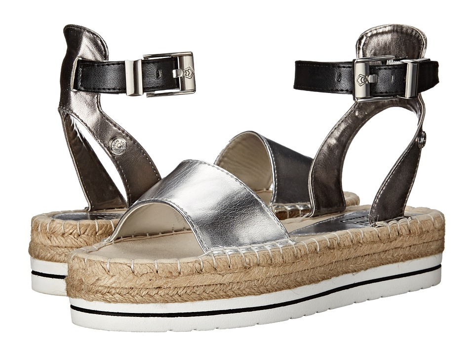 LOVE Moschino - Shiny Espadrille Sandal (Black/Silver) Women
