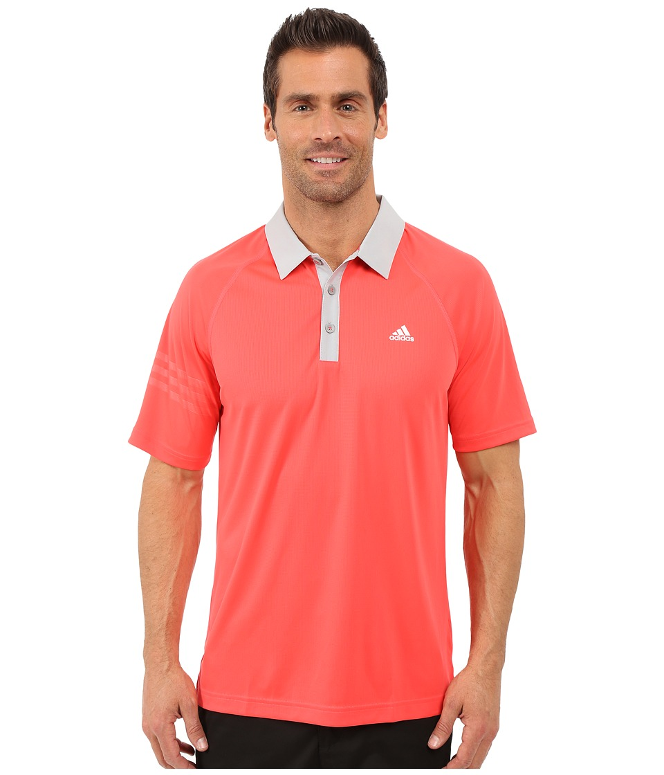 adidas Golf CLIMACHILL 3 Stripes Polo Shock Red/Stone Mens Clothing
