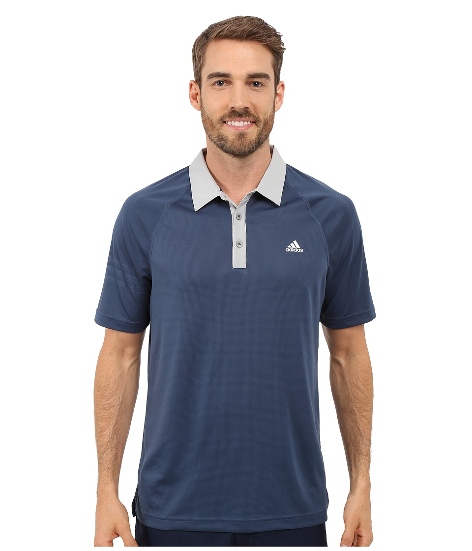 adidas Golf CLIMACHILL 3 Stripes Polo Mineral Blue/Stone Mens Clothing