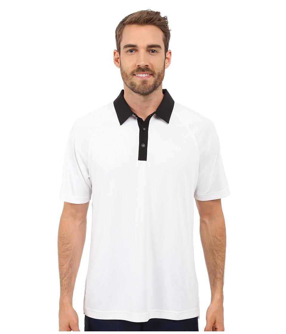 adidas Golf CLIMACHILL 3 Stripes Polo White/Black Mens Clothing