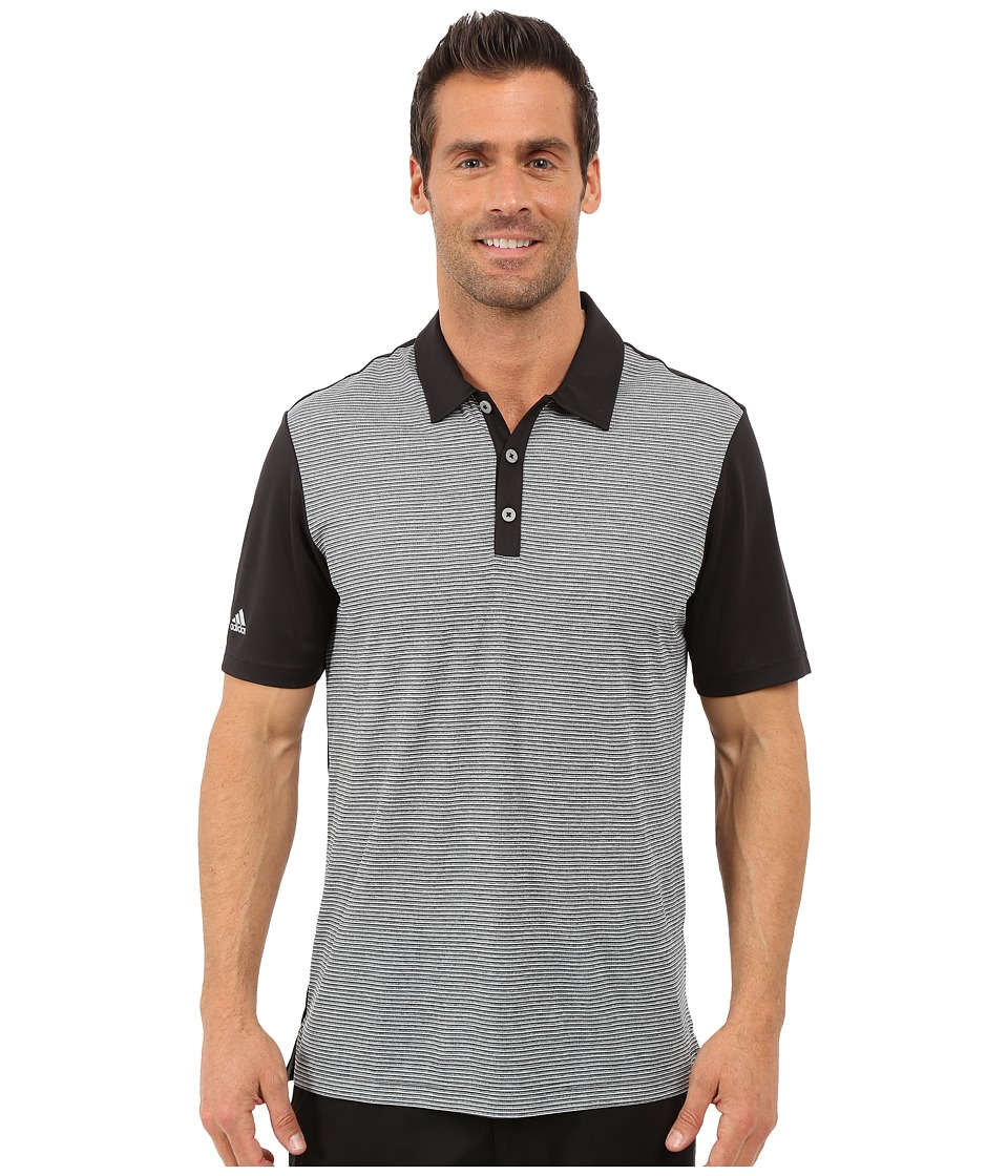 adidas Golf CLIMACHILL Heather Stripe Polo Black Mens Clothing