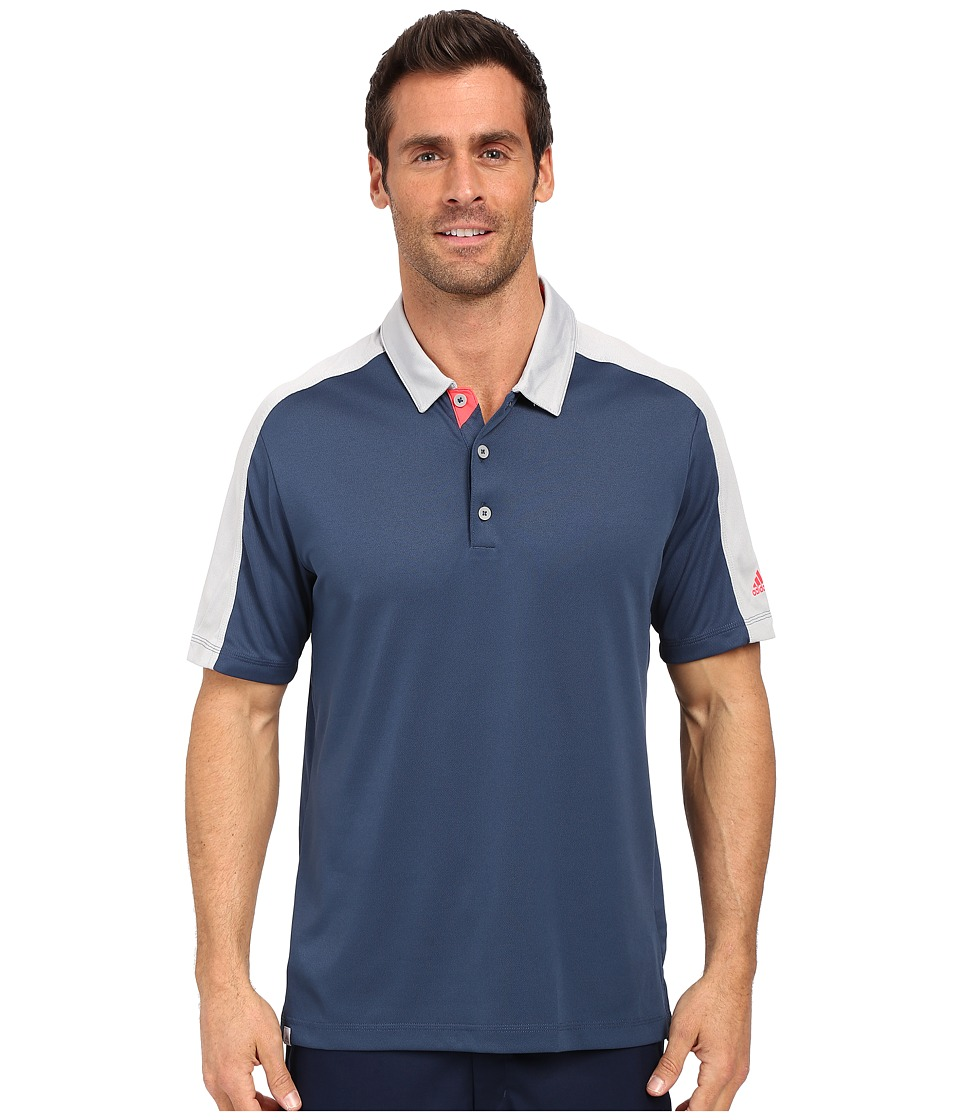 adidas Golf CLIMACOOL Pique Geo Block Polo Mineral Blue/Stone Mens Short Sleeve Pullover