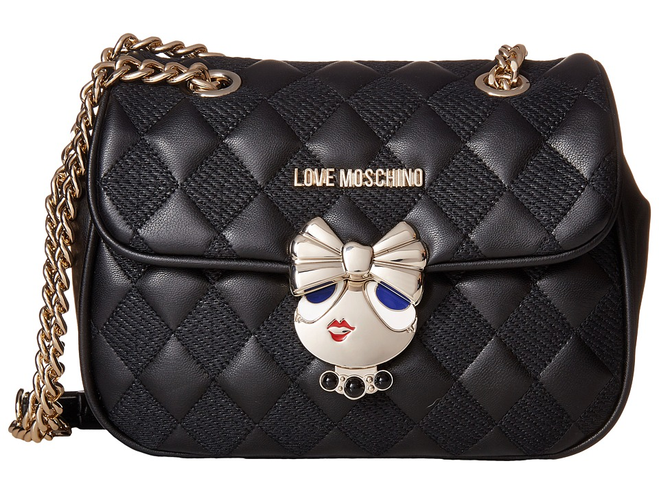 LOVE Moschino - Updated Quilted Crossbody Bag with Love Girl Clasp (Black) Cross Body Handbags