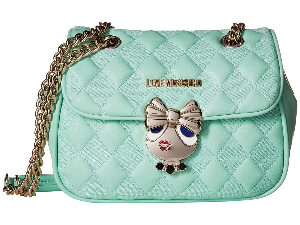 LOVE Moschino - Updated Quilted Crossbody Bag with Love Girl Clasp (Mint) Cross Body Handbags