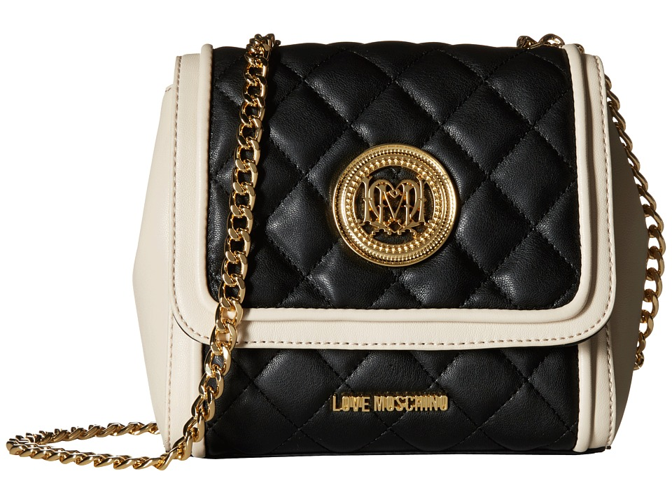 LOVE Moschino - Small Two-Tone Classic Quilted Crossbody Bag (Black/White) Cross Body Handbags