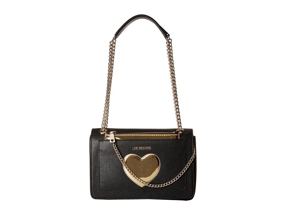 LOVE Moschino - Gold Heart with Chain Crossbody Bag (Black) Cross Body Handbags