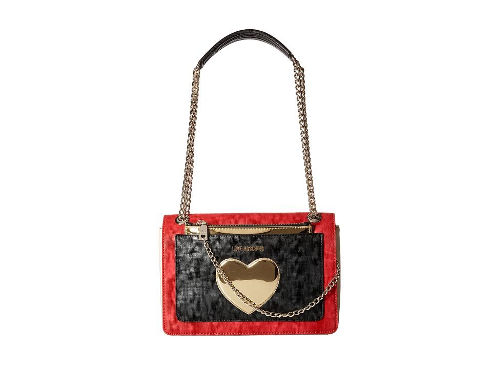 LOVE Moschino - Gold Heart with Chain Crossbody Bag (Red Multi) Cross Body Handbags
