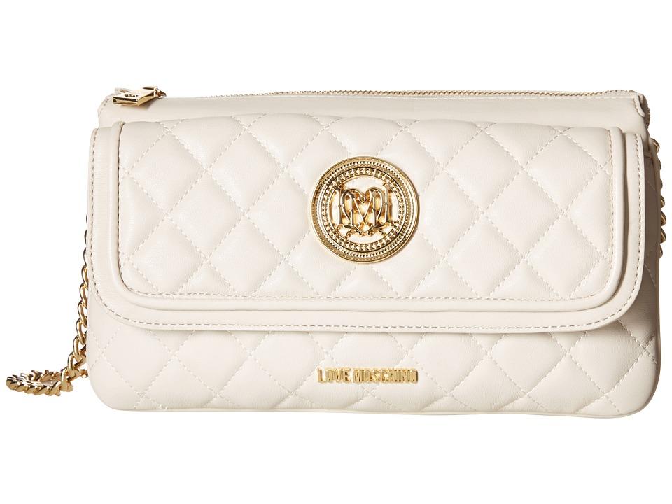 LOVE Moschino - Long Classic Quilted Crossbody Bag (White) Cross Body Handbags
