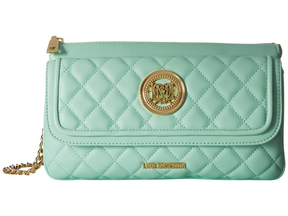 LOVE Moschino - Long Classic Quilted Crossbody Bag (Mint) Cross Body Handbags