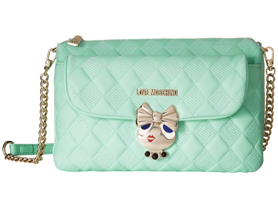 LOVE Moschino - Updated Small Quilted Crossbody Bag with Love Girl Clasp (Mint) Cross Body Handbags