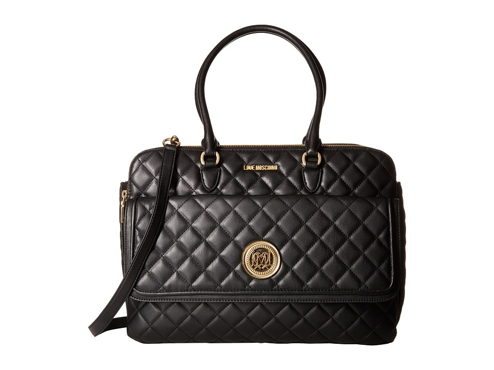 LOVE Moschino - Large Classic Quilted Handbag (Black) Handbags