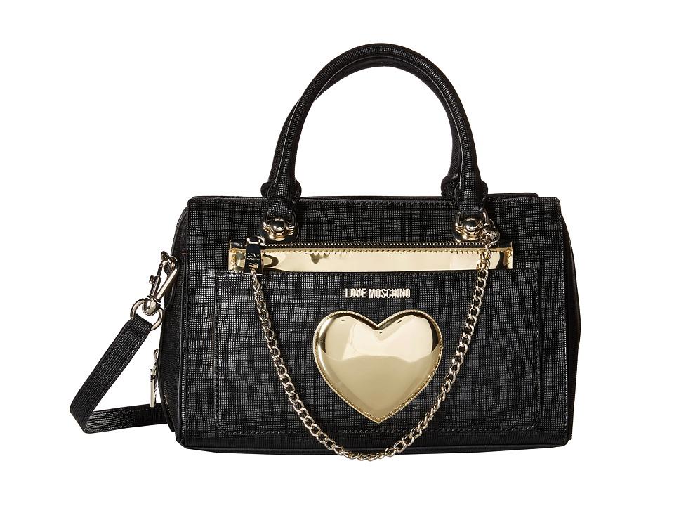 LOVE Moschino Chained Heart Handbag Black Handbags