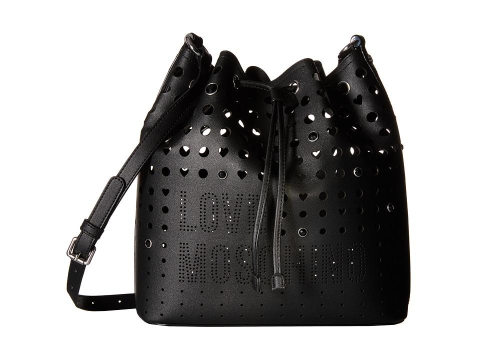 LOVE Moschino - Perforated Shoulder Strap Duffel Bag (Black) Duffel Bags