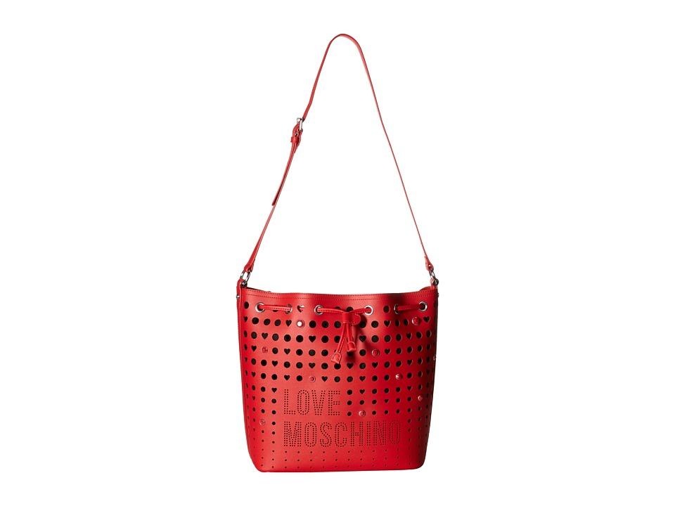LOVE Moschino - Perforated Shoulder Strap Duffel Bag (Red) Duffel Bags