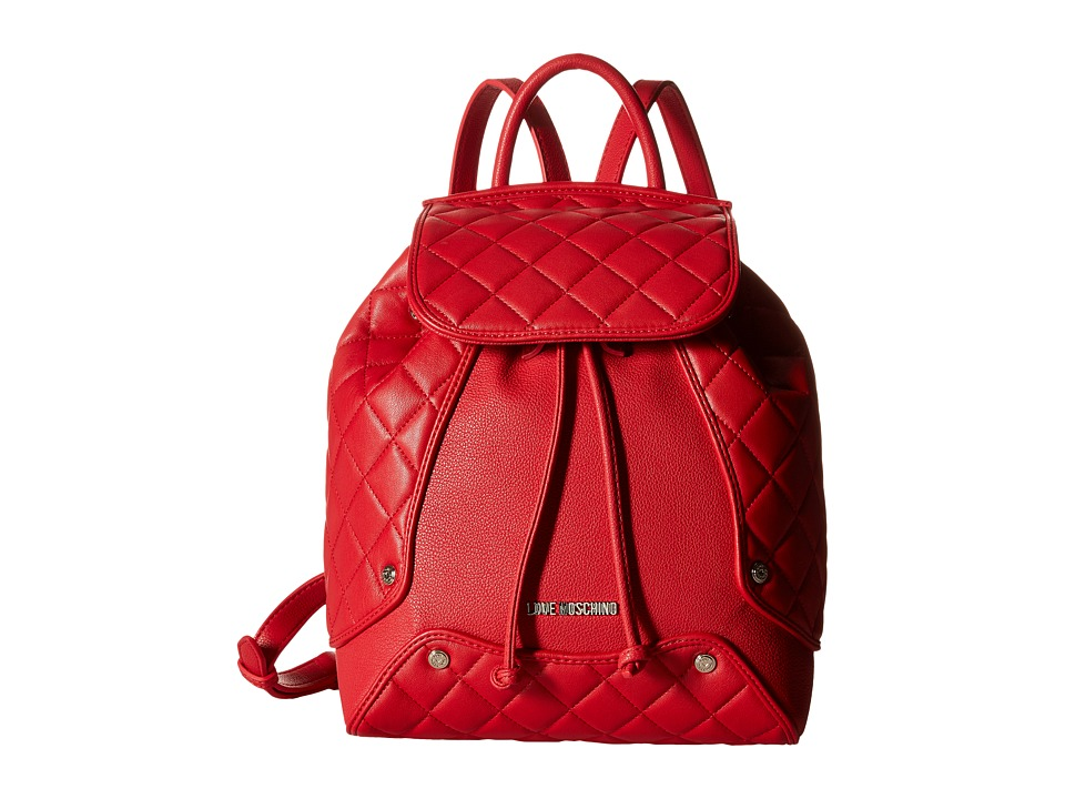 LOVE Moschino - Classic Quilted Backpack (Red) Backpack Bags