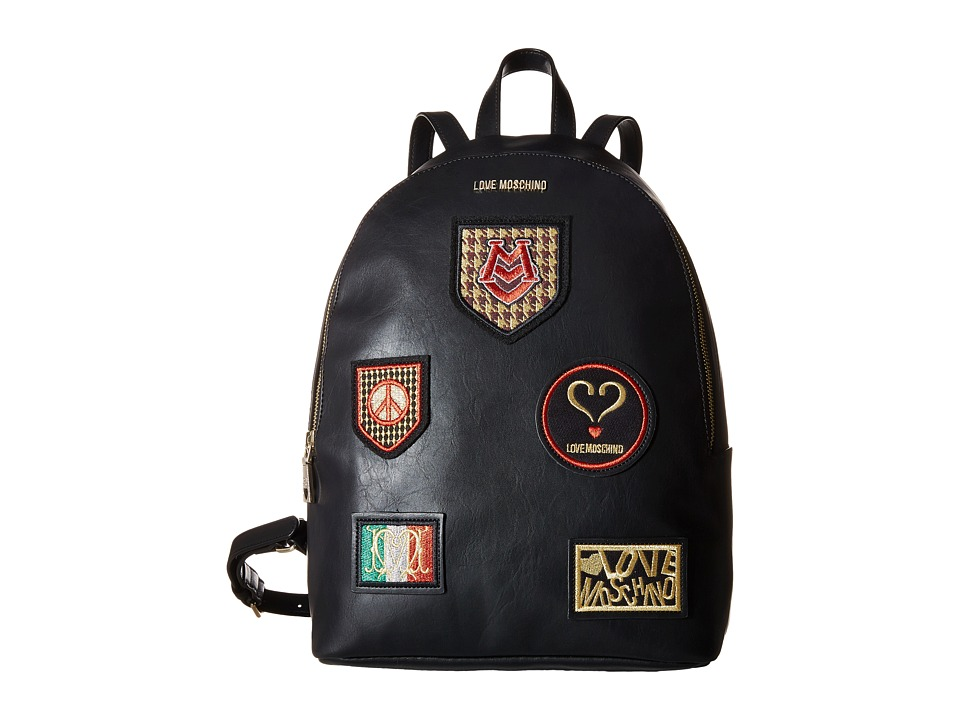 LOVE Moschino - Patched Backpack (Black) Backpack Bags